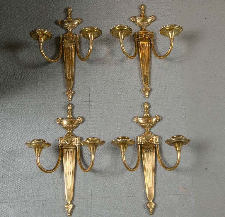 Pair of Caldwell 1920s Gilt Bronze Sconces For Sale 1