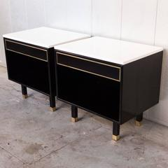 Par of Harvey Probber Nightstands with Polished Marble Tops