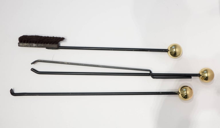 American Modernist Fireplace Tool Set in Chrome and Brass For Sale