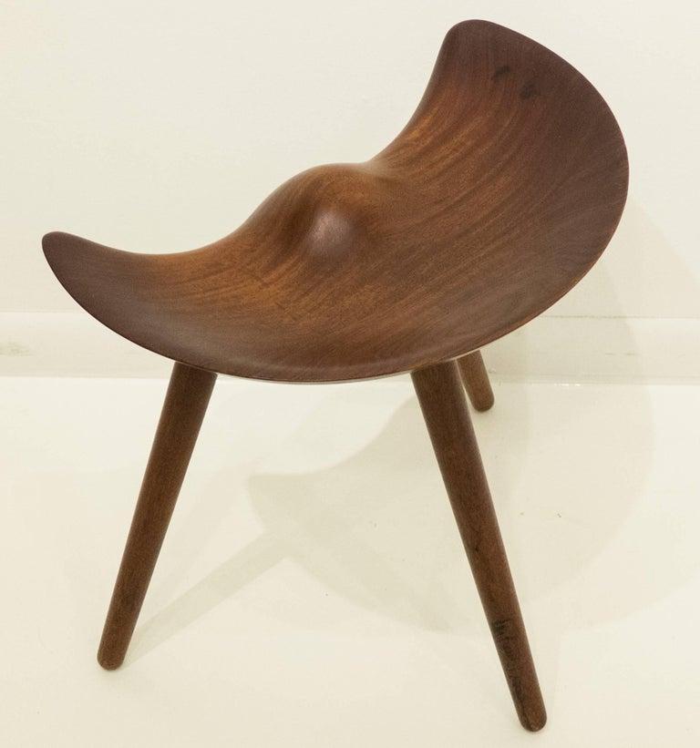 Carved Mogens Lassen Stool For Sale