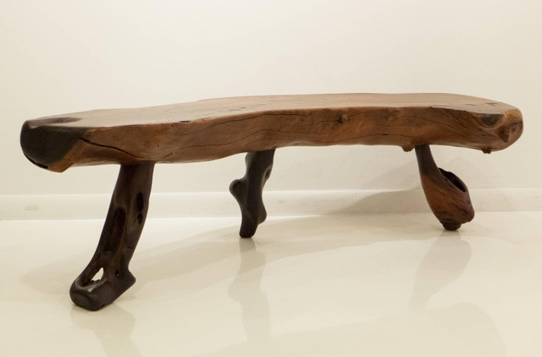 Mexican Live Edge Bench in Solid Rosewood In Excellent Condition For Sale In New York, NY