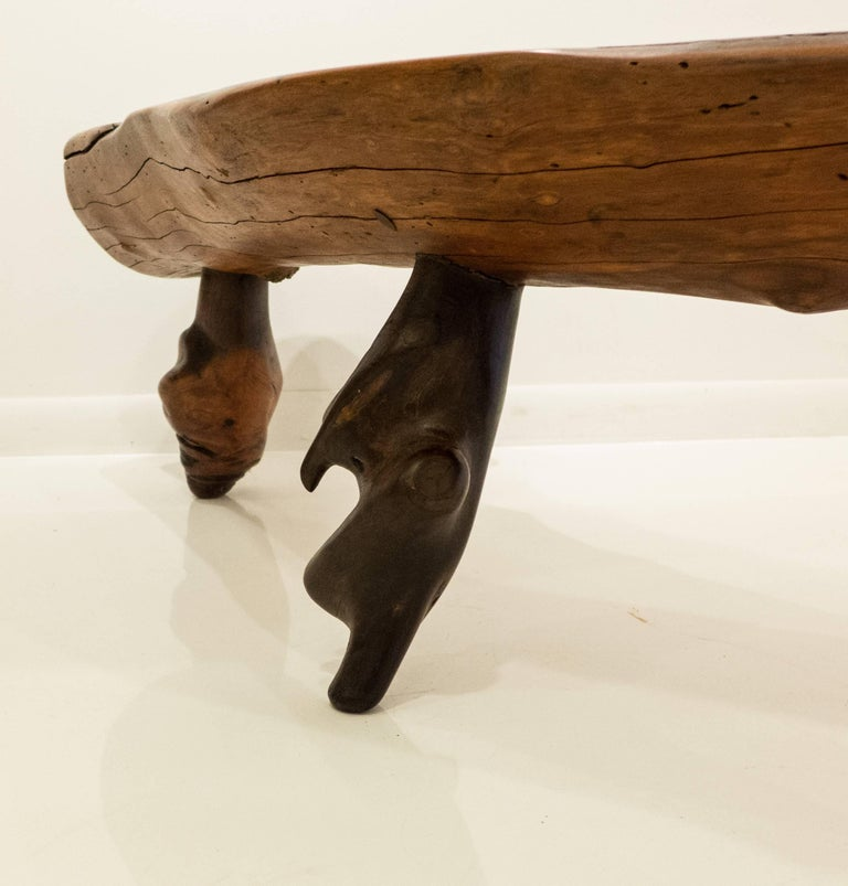 Mexican Live Edge Bench in Solid Rosewood For Sale 4