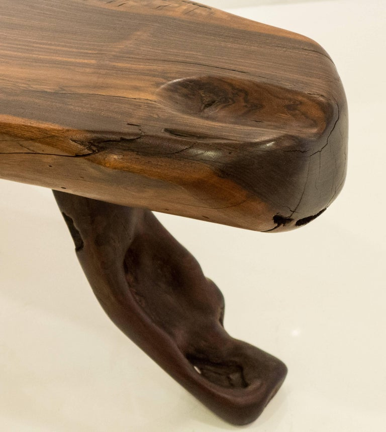 Mexican Live Edge Bench in Solid Rosewood For Sale 5