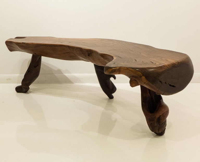 Brutalist Mexican Live Edge Bench in Solid Rosewood For Sale