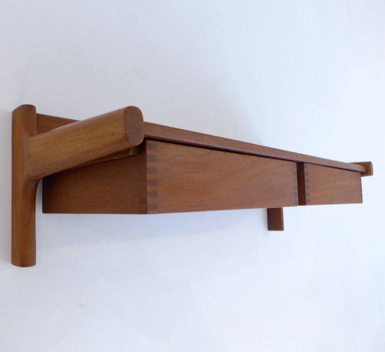 teak wall shelf by drylund for sale at 1stdibs. Black Bedroom Furniture Sets. Home Design Ideas