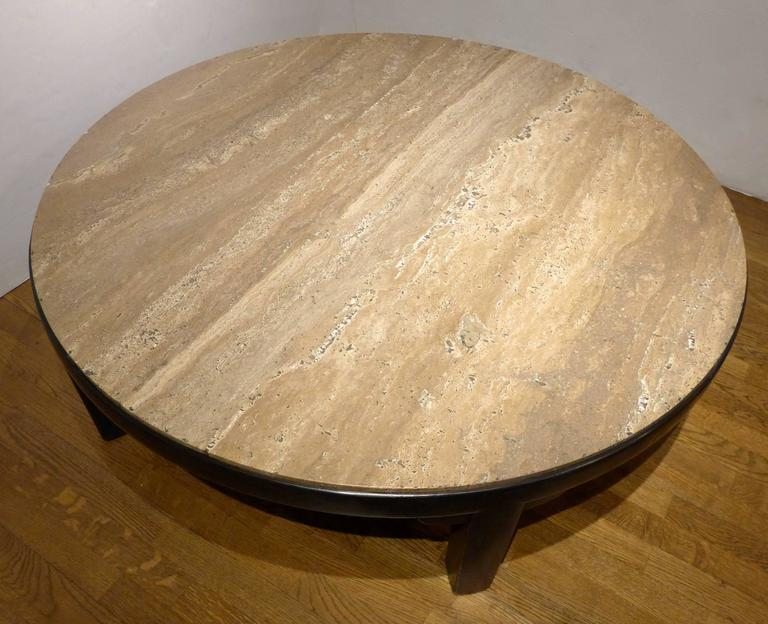 Mid-Century Modern Edward Wormley Cocktail Table with Travertine Top For Sale