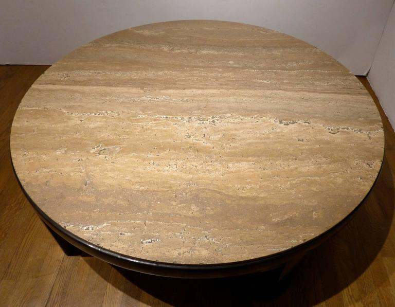American Edward Wormley Cocktail Table with Travertine Top For Sale