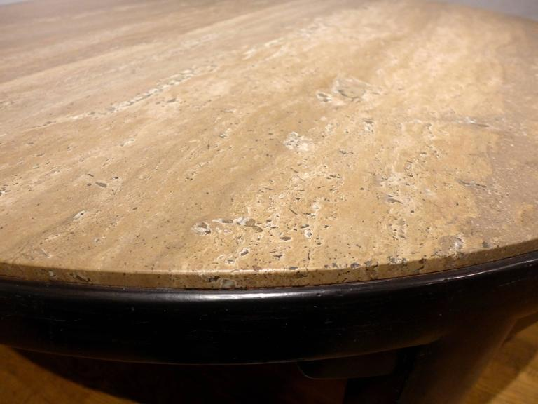 Edward Wormley Cocktail Table with Travertine Top In Excellent Condition For Sale In New York, NY