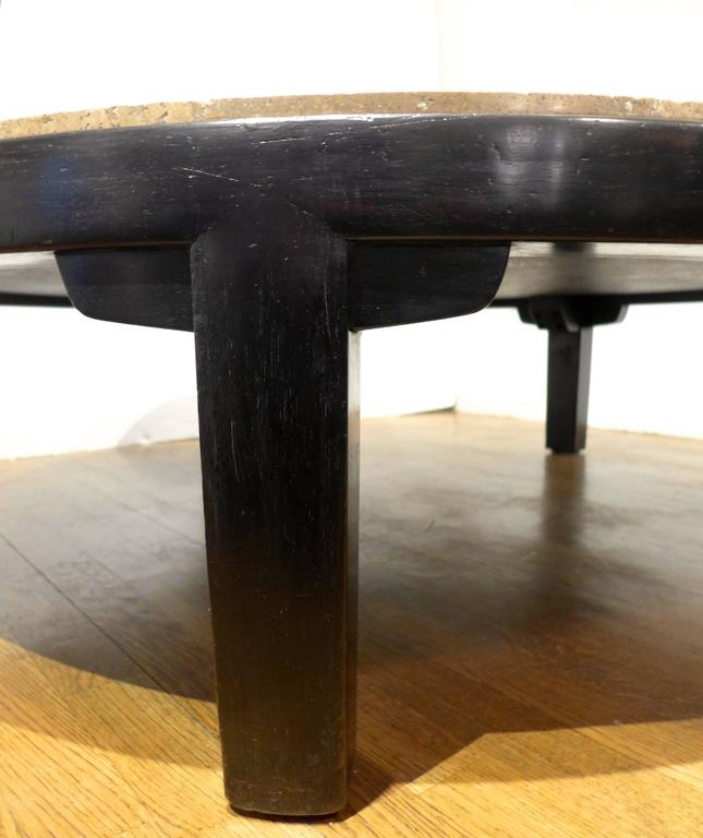Edward Wormley Cocktail Table with Travertine Top For Sale 1