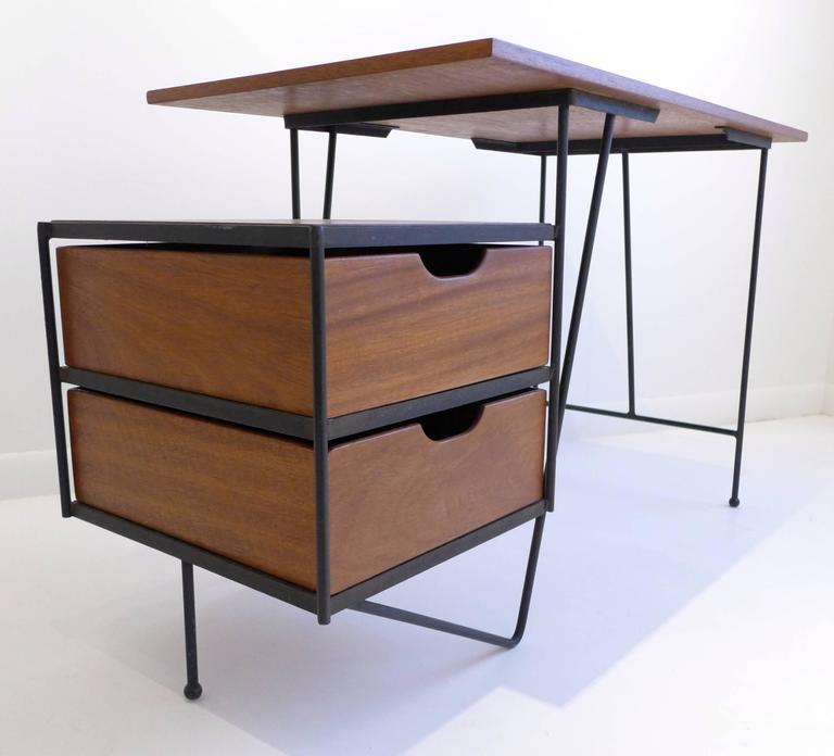 Modernist Desk Of Philippine Mahogany And Wrought Iron, With Floating Bank  Of Drawers. Designed