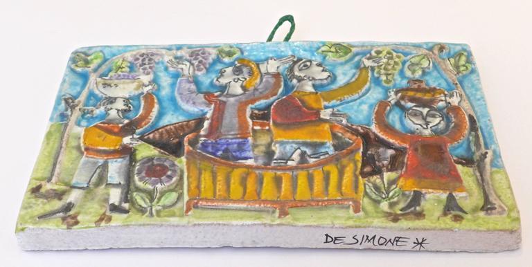 Mid-Century Modern Viticulture Majolica Plaque by Giovanni de Simone For Sale