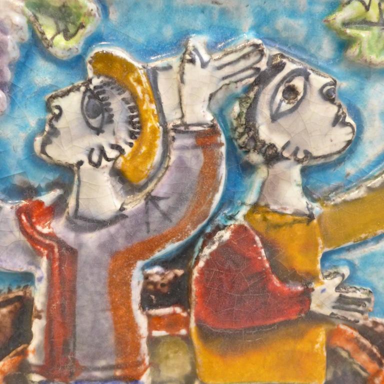 20th Century Viticulture Majolica Plaque by Giovanni de Simone For Sale