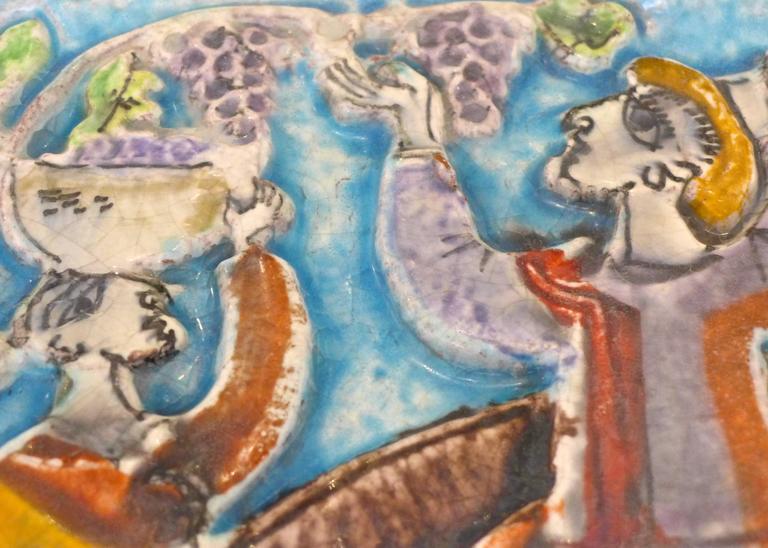 Viticulture Majolica Plaque by Giovanni de Simone For Sale 2