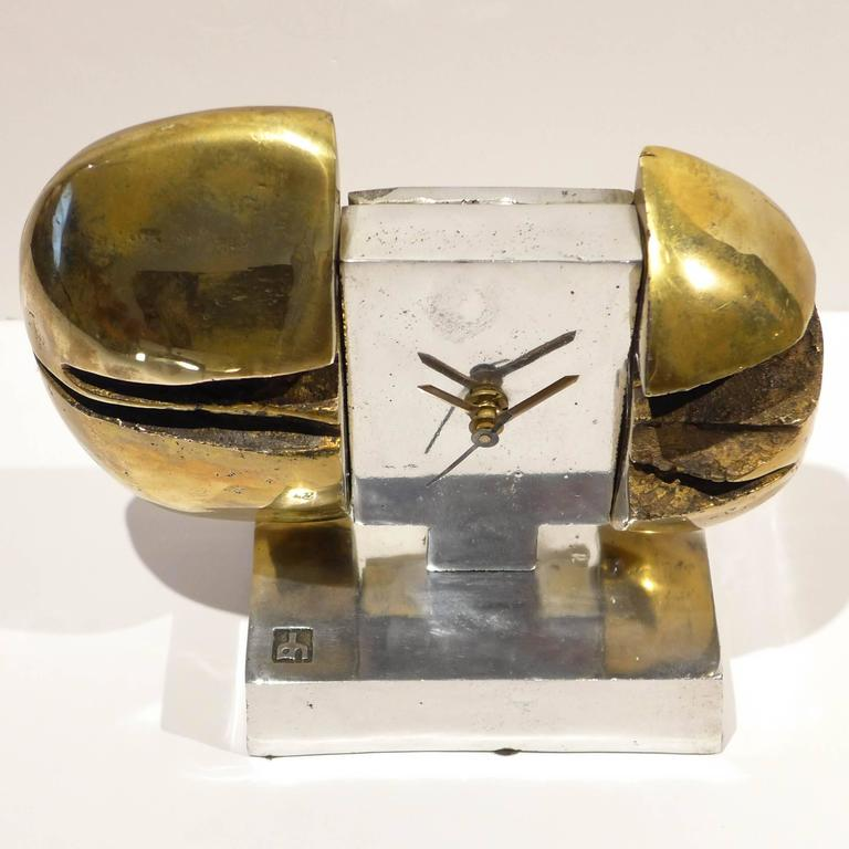 Brutalist Sculptural Clock by David Marshall For Sale