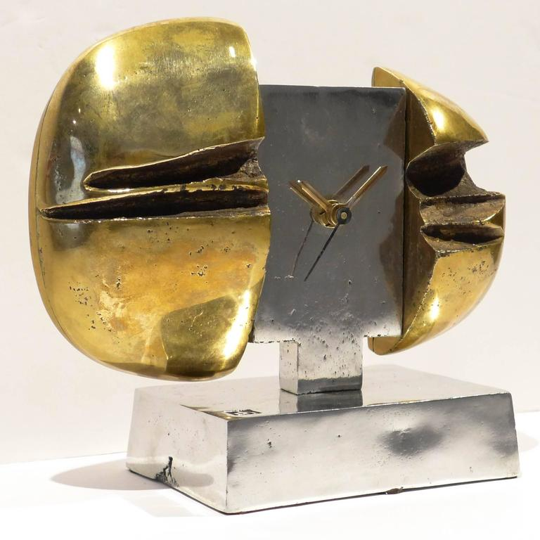 Spanish Sculptural Clock by David Marshall For Sale