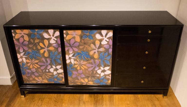 Mid-Century Modern Harvey Probber Cabinet with Jewelry Enamel Doors For Sale