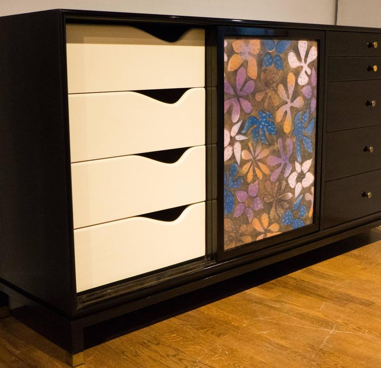 Mid-20th Century Harvey Probber Cabinet with Jewelry Enamel Doors For Sale