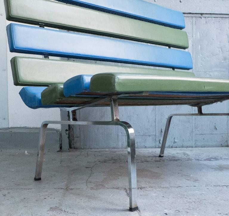 Naugahyde Gerald McCabe Slat Settee for Pacific Furniture For Sale