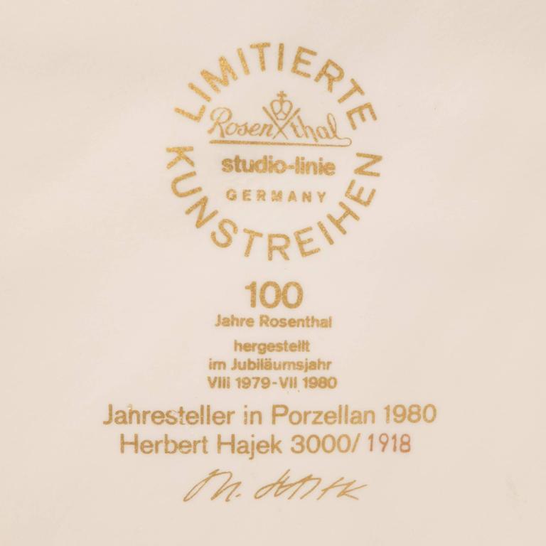 Porcelain Rosenthal Jahresteller Plaque by Otto Herbert Hajek For Sale