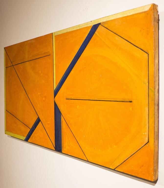 Mixed-media (polymer paint and metallic paper) on board by Japanese artist Masaaki Kusumoto, dated 1965. Kusumoto studied art in Japan, where he also worked as an art director for a corporation. He moved to New York City in 1961. His geometric