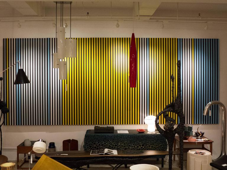 Large-scale, technically precise geometric stripe painting in blue, white, grey and yellow, on five separate panels, by Worcester, MA artist Terri Priest (1928-2014). Best-known for her paintings that updated Vermeer's women, Priest painted abstract