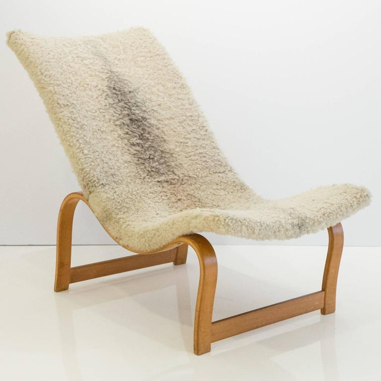 Mid-20th Century Early and Rare Bruno Mathsson Model 36 Easy Chair with Footrest For Sale