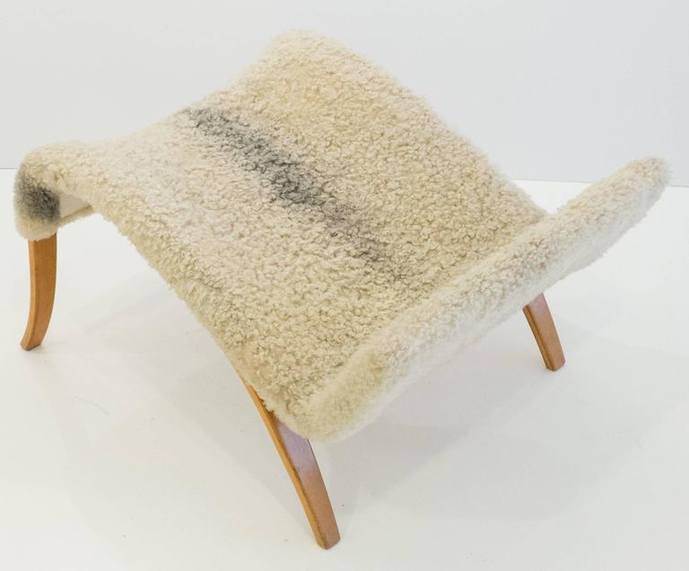 Sheepskin Early and Rare Bruno Mathsson Model 36 Easy Chair with Footrest For Sale