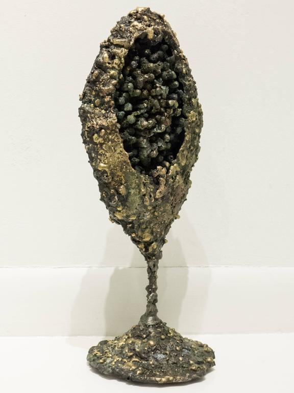 """""""Pod"""" sculpture in patinated steel with fused bronze. A new work by Des Moines, Iowa, artist James Bearden. Bearden's work was recently featured in a solo exhibition at the NY Design Center titled """"James Bearden: Life in Steel;"""" in an article in the"""