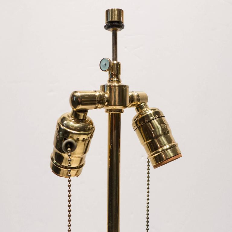 American Hansen Table Lamp in Brass and Glass For Sale