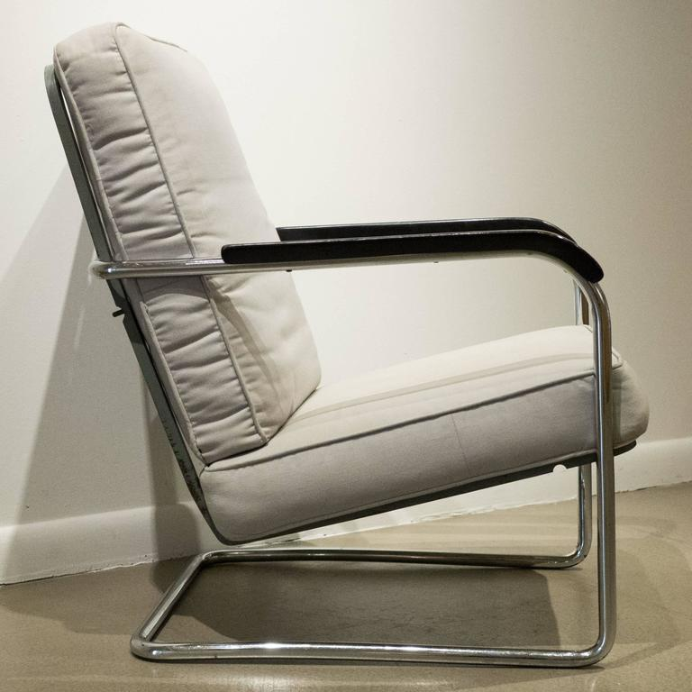 Bauhaus Early Werner Max Moser High Back Adjustable Armchair by Embru Werke For Sale