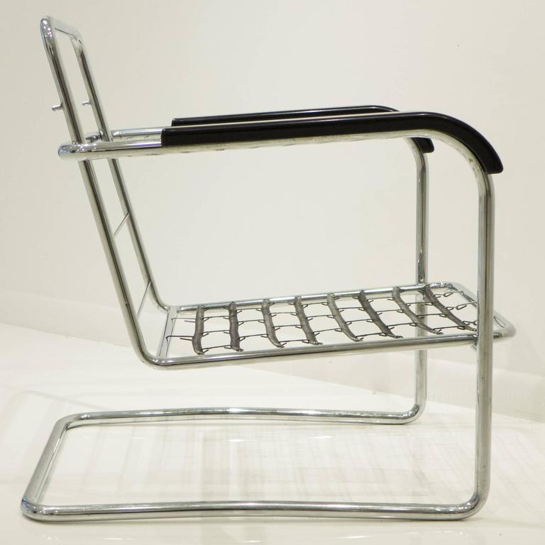 Werner Max Moser Tubular Steel Armchair for Embru Werke In Good Condition For Sale In New York, NY