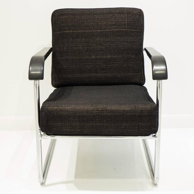 Mid-20th Century Werner Max Moser Tubular Steel Armchair for Embru Werke For Sale