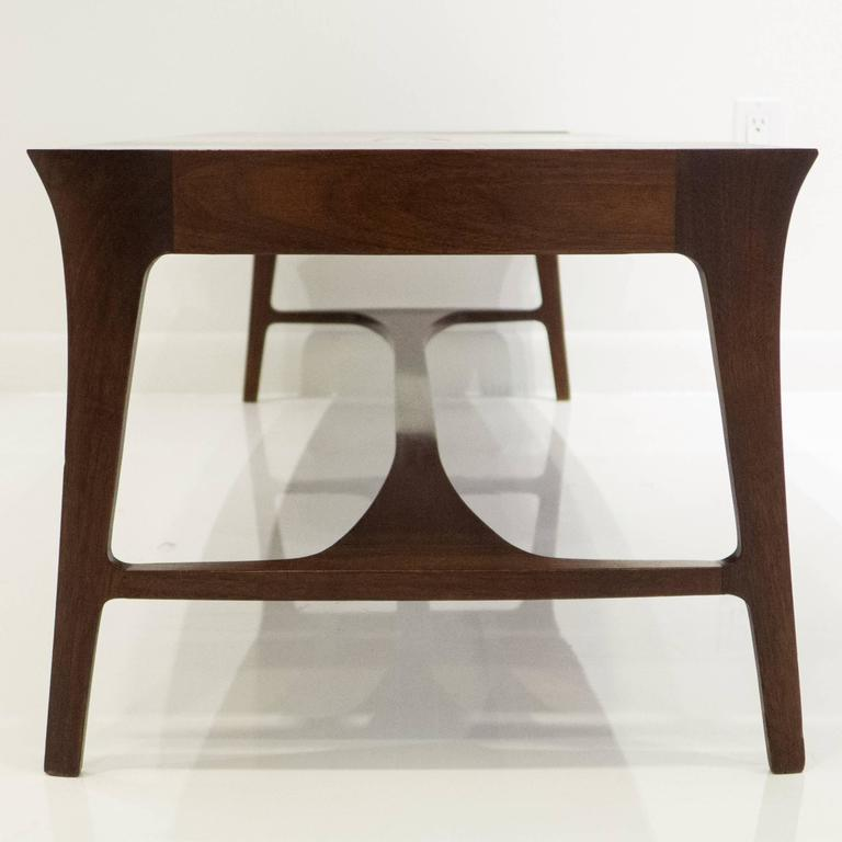 Enamel Tray Coffee Table: Henry Glass Cocktail Table With Enamel Insert For Sale At