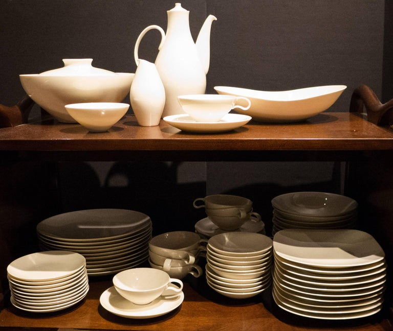 Extraordinary museum-quality Eva Zeisel porcelain Museum service by Castleton. Complete seven-piece service for ten (cups and saucers counted separately) plus five serving pieces. Purchased together by original owners from Black, Starr, and Gorham