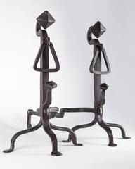 Wrought iron andirons, Circa 1920