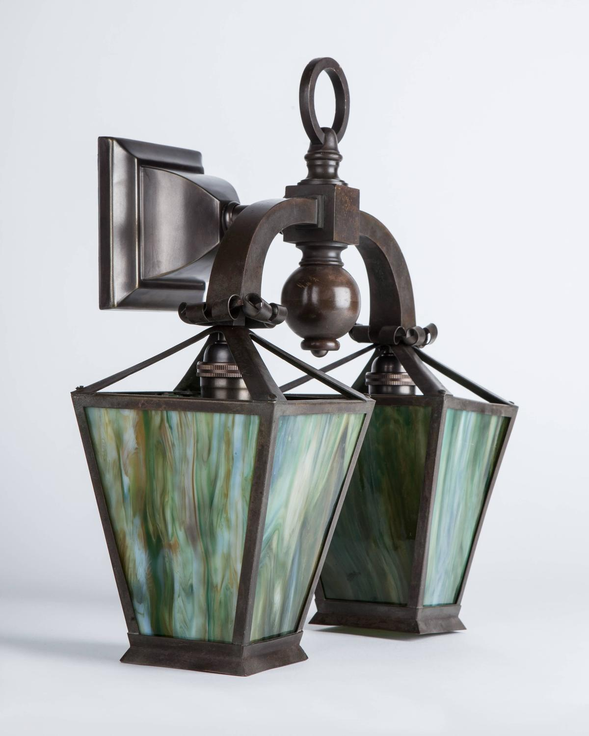 Wall Sconces Art Glass : Arts and Crafts Green Art Glass and Brass Sconces, Circa 1920 For Sale at 1stdibs