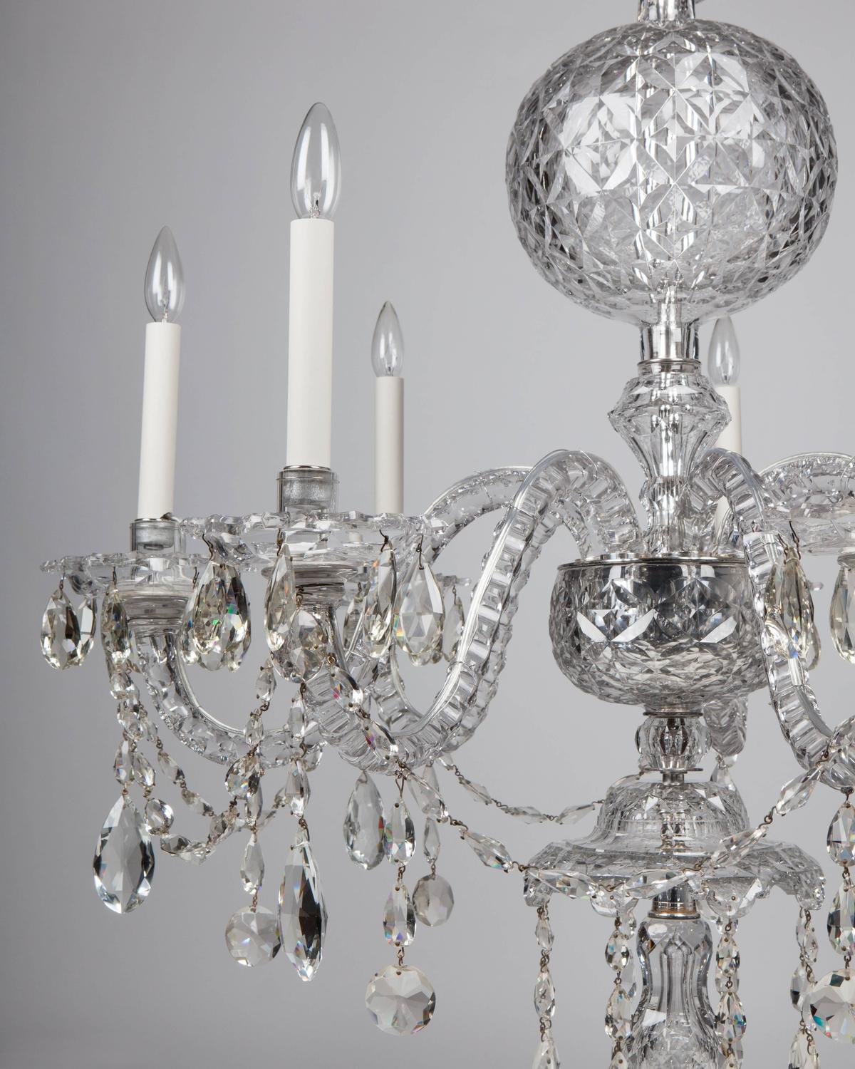 Georgian Silver And Cut Glass Chandelier Circa 1760 For
