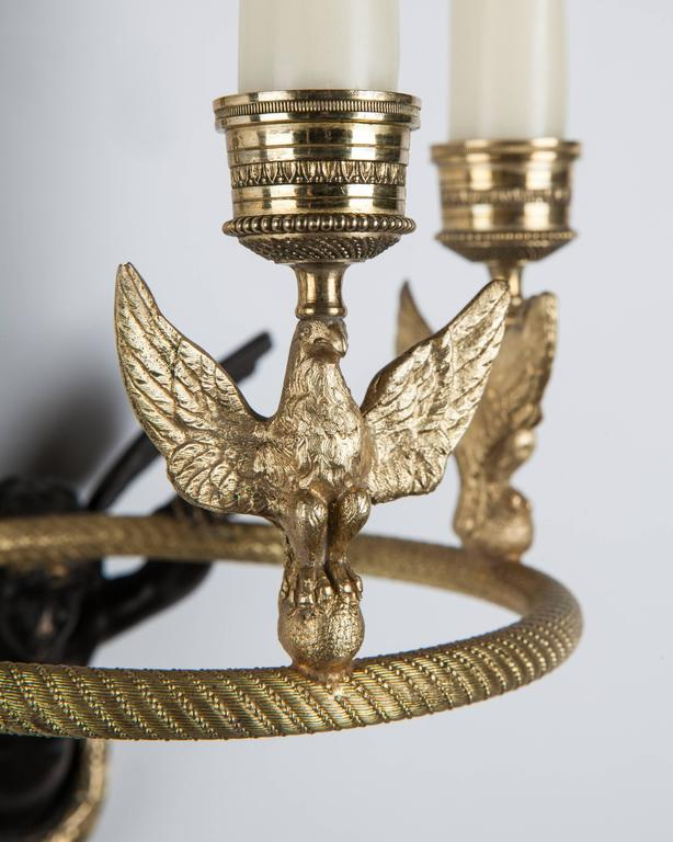 Bronze Empire Candle Sconce, circa 1860 For Sale