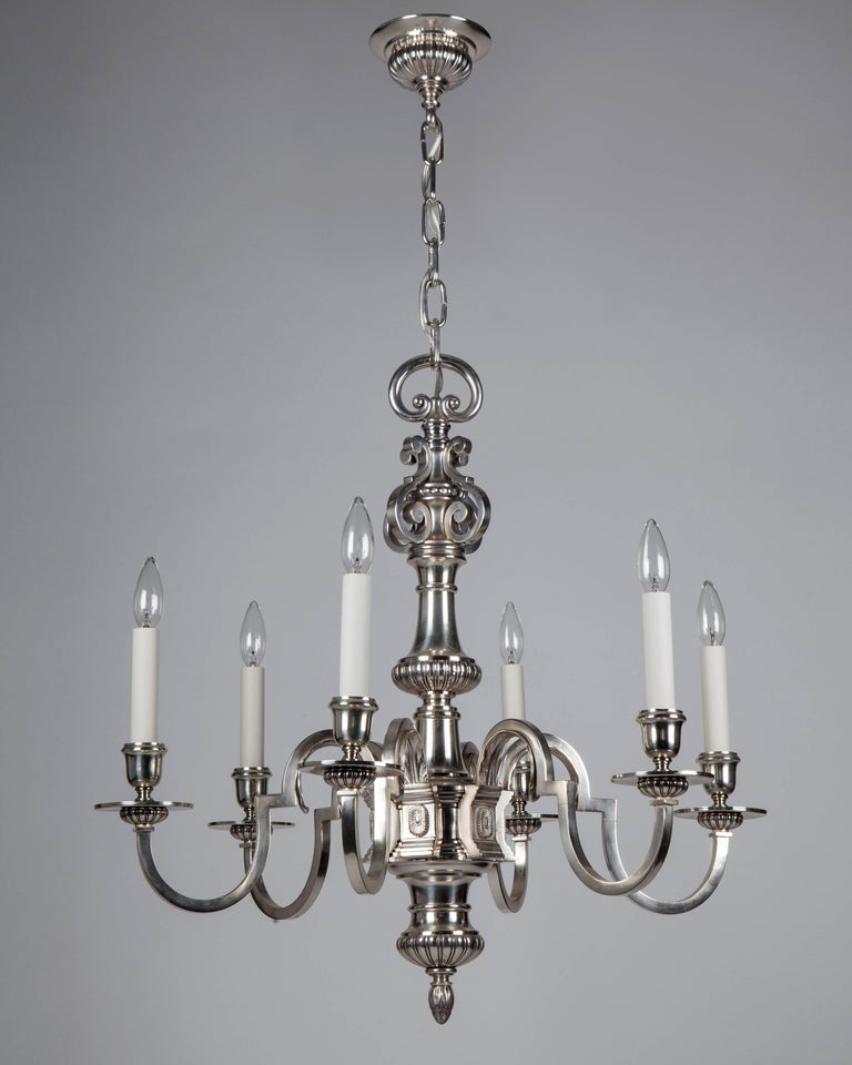 Foliate Detailed Silverplate Chandelier Circa 1920 For