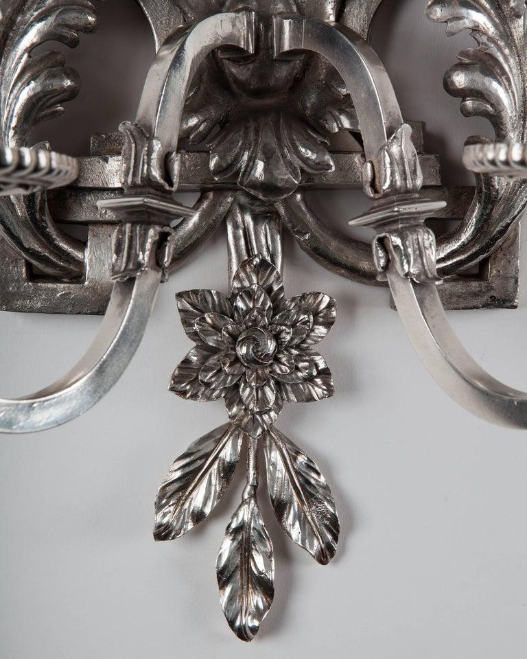 Silver Plate Sconces, circa 1900 4