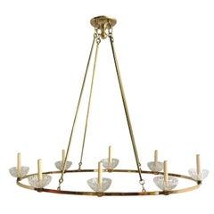 Midcentury Oval Gilt Bronze Chandelier