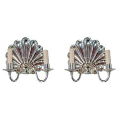 Silver Plated Shell Sconces