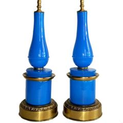 Pair of Blue Opaline Glass Lamps