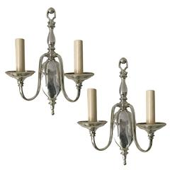 Pair of Neoclassic Style Silver Sconces