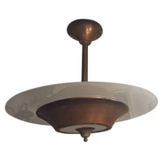 Copper and Glass Light Fixture