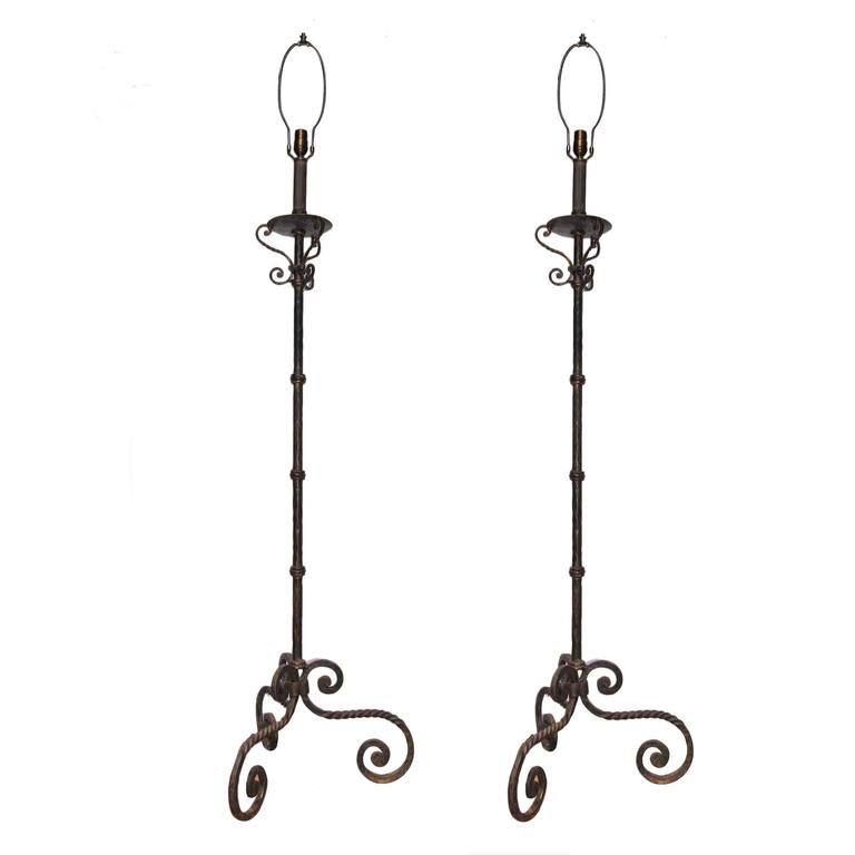 pair of wrought iron floor lamps for sale at 1stdibs. Black Bedroom Furniture Sets. Home Design Ideas
