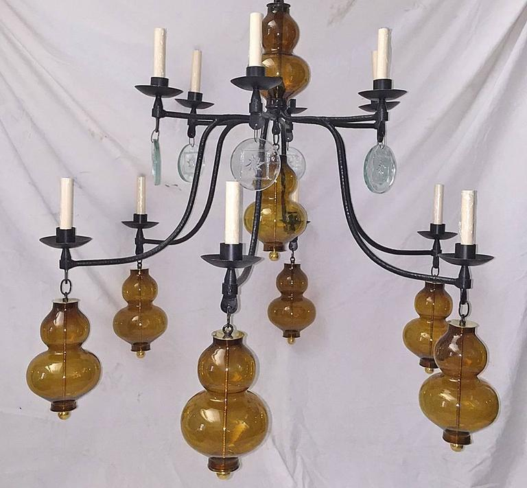 Large Wrought Iron Chandelier with Glass Elements 2
