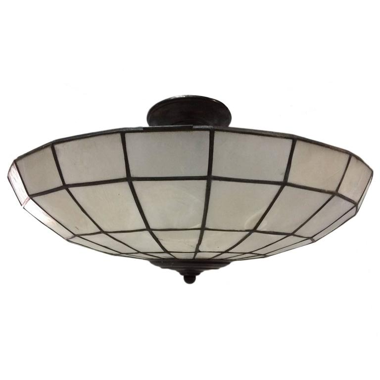 Capiz ceiling light fixture at 1stdibs for Shell ceiling light fixtures