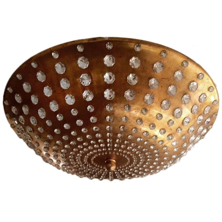 Large Gilt Metal Light Fixture with Crystal Insets