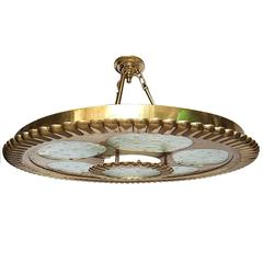 Bronze Light Fixture with Glass Insets
